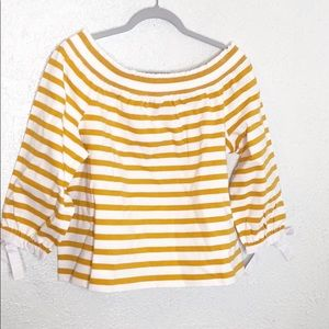 J. Crew  mustard white off shoulder bow sleeve L